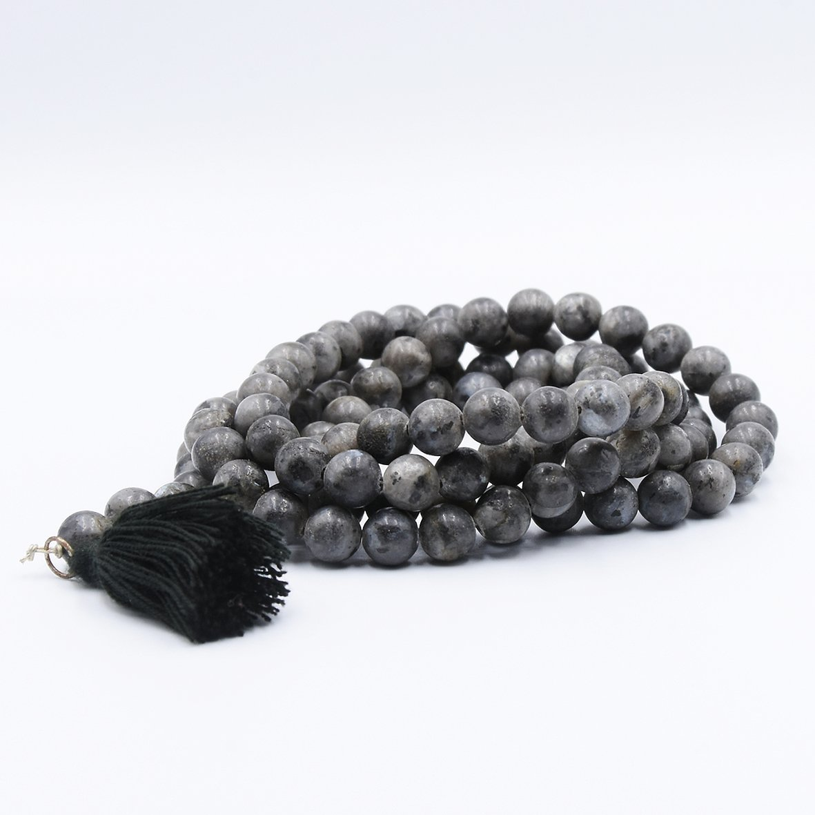 collier mala en obsidienne